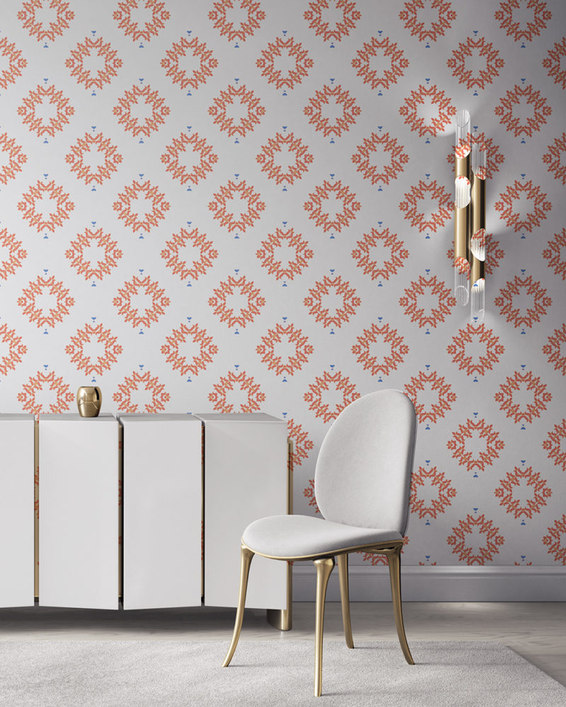 Emmett is an peach, white and blue wallpaper designed in Los Angeles. This diamond pattern wallpaper is perfect for casual luxury homes. Design - Emmett by Pearl and Maude. Vellum wallpaper comes untrimmed. Standard wallpaper comes pre-pasted.
