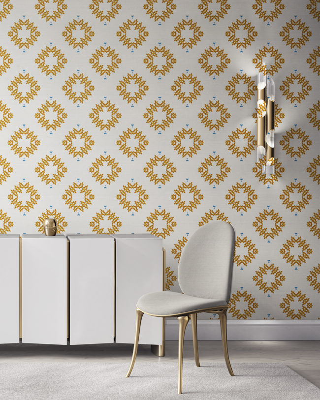 Emmett is an orange, white and blue wallpaper designed in Los Angeles. This diamond pattern wallpaper is perfect for casual luxury homes. Design - Emmett by Pearl and Maude. Grasscloth wallcovering comes untrimmed.