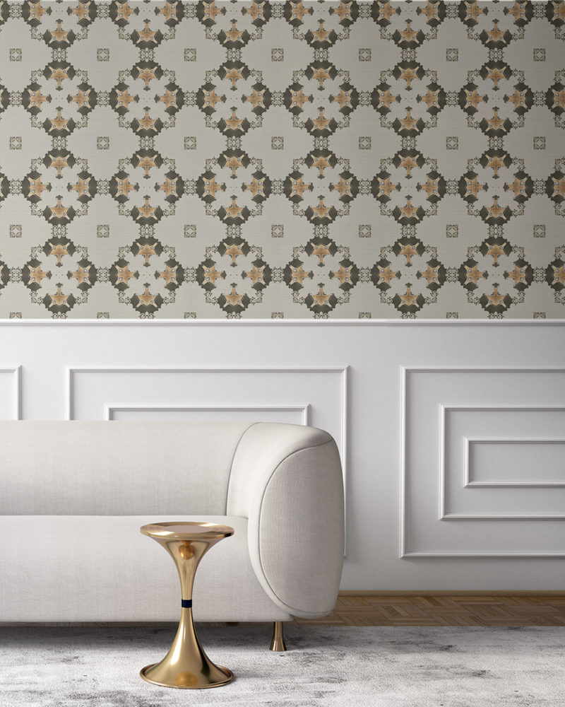 Taupe, cream and gold wallpaper designed in Los Angeles makes this sophisticated art deco interior more luxurious. Design - Eva by Pearl and Maude. Grasscloth wallcovering comes untrimmed.