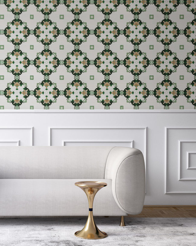 Green, white and gold wallpaper designed in Los Angeles makes this sophisticated art deco interior more luxurious. Design - Eva by Pearl and Maude.