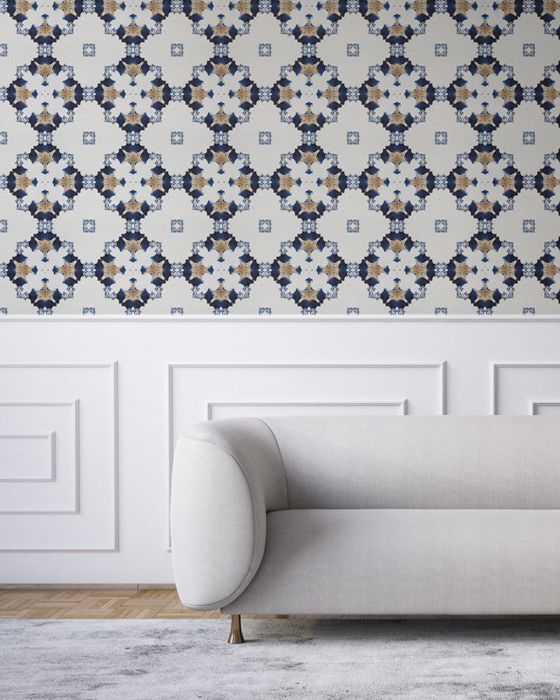 Navy blue, gold and white wallpaper designed in Los Angeles makes this sophisticated art deco interior more luxurious. Design - Eva by Pearl and Maude. Grasscloth wallcovering comes untrimmed.