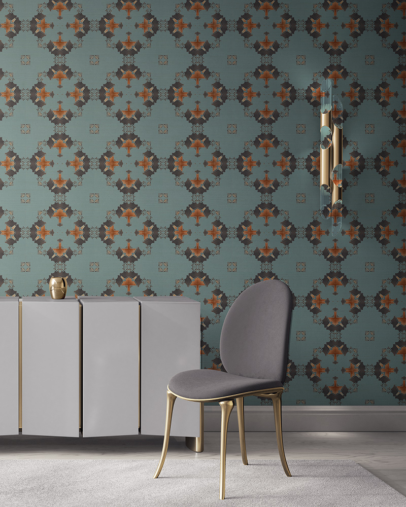 Robin's egg blue, grey and copper wallpaper designed in Los Angeles makes this sophisticated art deco interior more luxurious. Design - Eva by Pearl and Maude. Grasscloth wallcovering comes untrimmed.