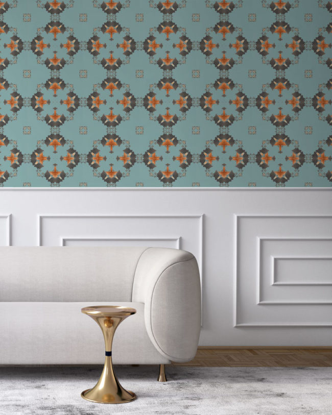 Robin's egg blue, grey and copper wallpaper designed in Los Angeles makes this sophisticated art deco interior more luxurious. Design - Eva by Pearl and Maude. Vellum wallpaper comes untrimmed. Standard wallpaper comes pre-pasted.