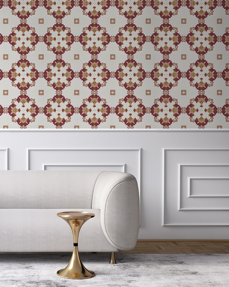 Burgundy red, gold and white wallpaper designed in Los Angeles makes this sophisticated art deco interior more fun. Design - Eva by Pearl and Maude. Grasscloth wallcovering comes untrimmed.