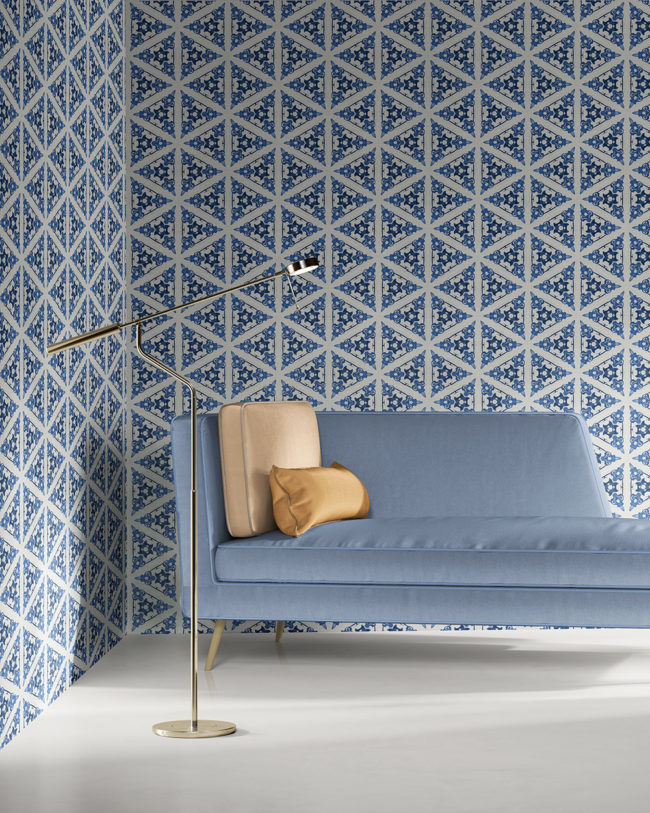 Bunsen in blue and white is a geometric and colorful artisanal wallpaper designed in Los Angeles. Design - Bunsen by Pearl and Maude. Grasscloth wallcovering comes untrimmed.