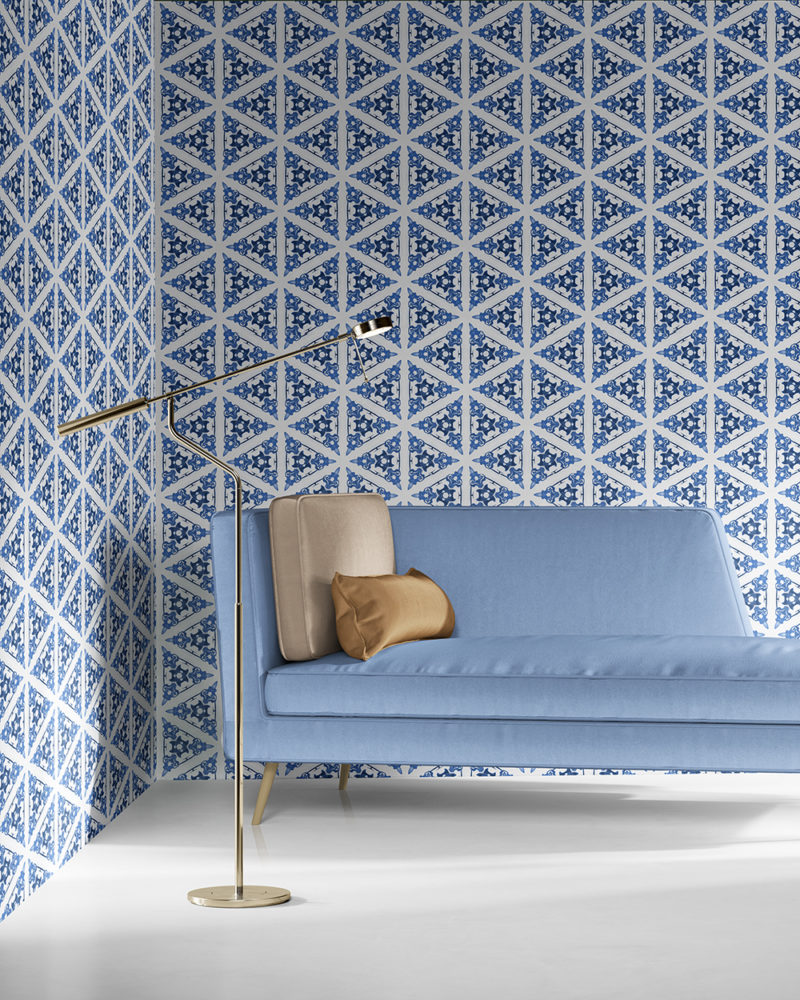 Bunsen in blue and white is a geometric and colorful artisanal wallpaper designed in Los Angeles. Design - Bunsen by Pearl and Maude. Vellum wallpaper comes untrimmed. Standard wallpaper comes pre-pasted.