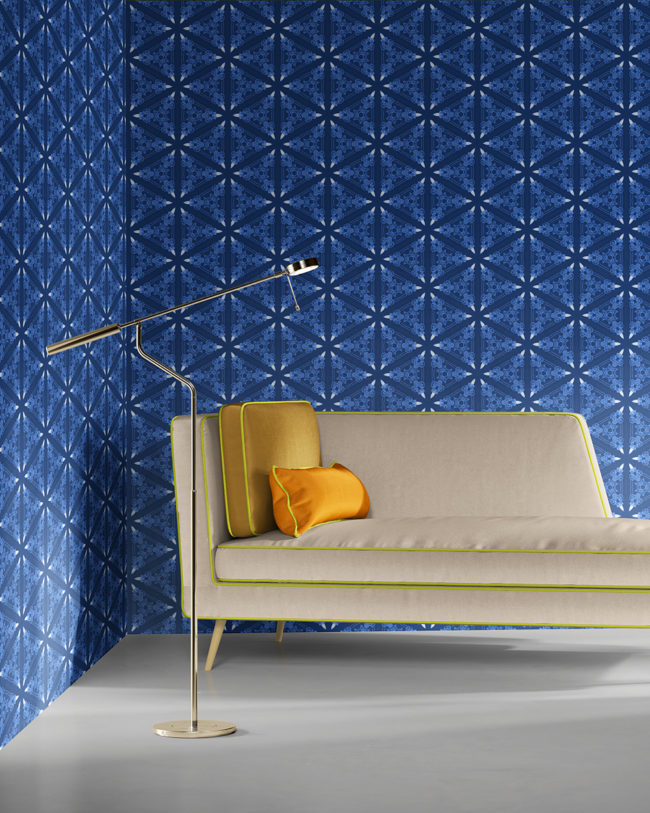 Bunsen in deep blues is a geometric and colorful artisanal wallpaper designed in Los Angeles. Design - Bunsen by Pearl and Maude. Vellum wallpaper comes untrimmed. Standard wallpaper comes pre-pasted.