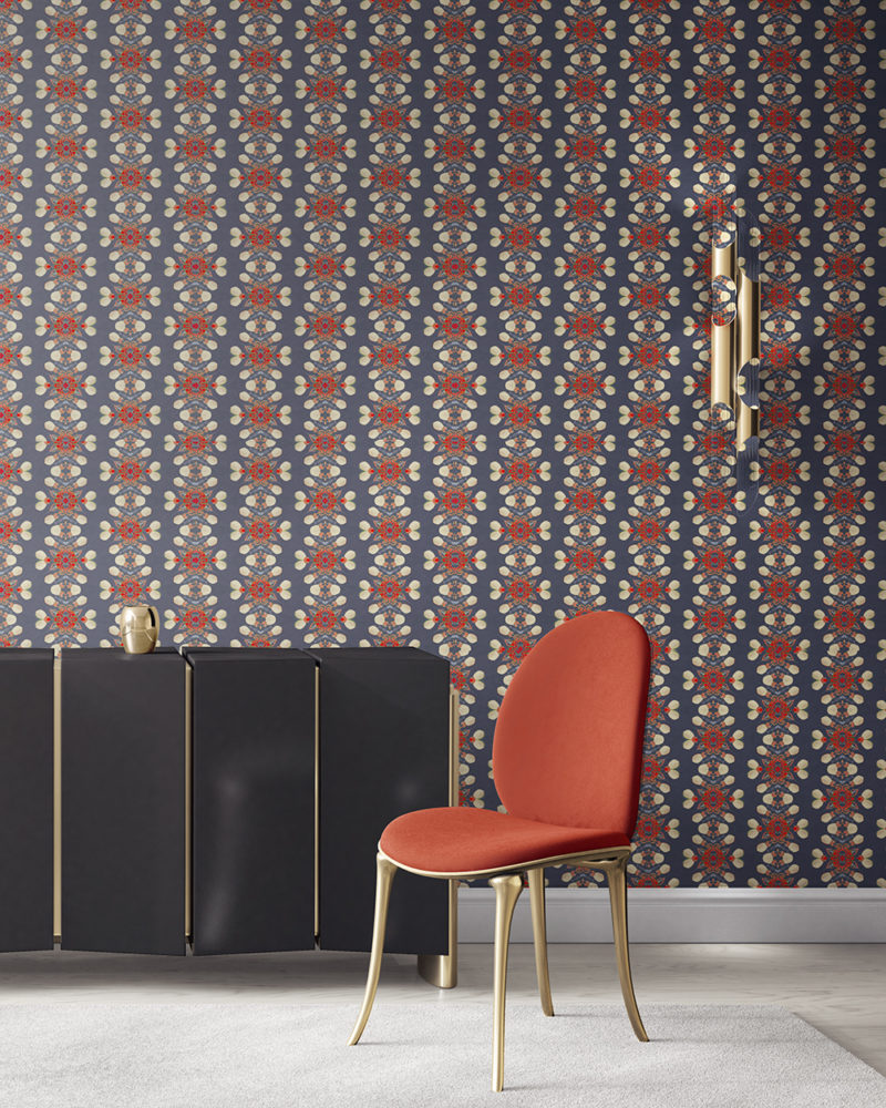 is an artisanal wallpaper for luxury interiors. , Arabella in grey and red is an artisanal wallpaper created for luxury interiors. It's the perfect wallcovering for bold, masculine and sophisticated environments. Vellum wallpaper comes untrimmed. Standard wallpaper comes pre-pasted.
