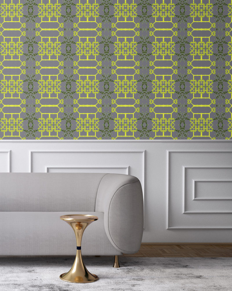 Arachne in grey and citron yellow is an artisanal wallpaper created for luxury interiors. With its lattice pattern, Arachne the perfect wallcovering for bold, traditional, but playful environments. Vellum wallpaper comes untrimmed. Standard wallpaper comes pre-pasted.