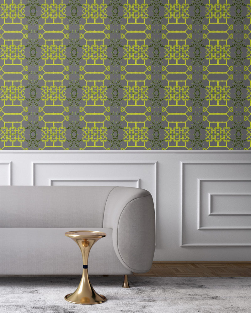 Arachne in grey and citron yellow is an artisanal wallpaper created for luxury interiors. With its lattice pattern, Arachne the perfect wallcovering for bold, traditional, but playful environments. Grasscloth wallcovering comes untrimmed.