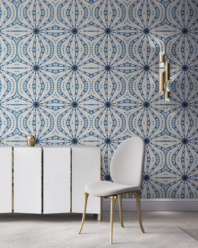 Fern in cobalt blue and white is a feminine, organic artisanal wallpaper designed in Los Angeles. Design - Fern by Pearl and Maude. Grasscloth wallcovering comes untrimmed.