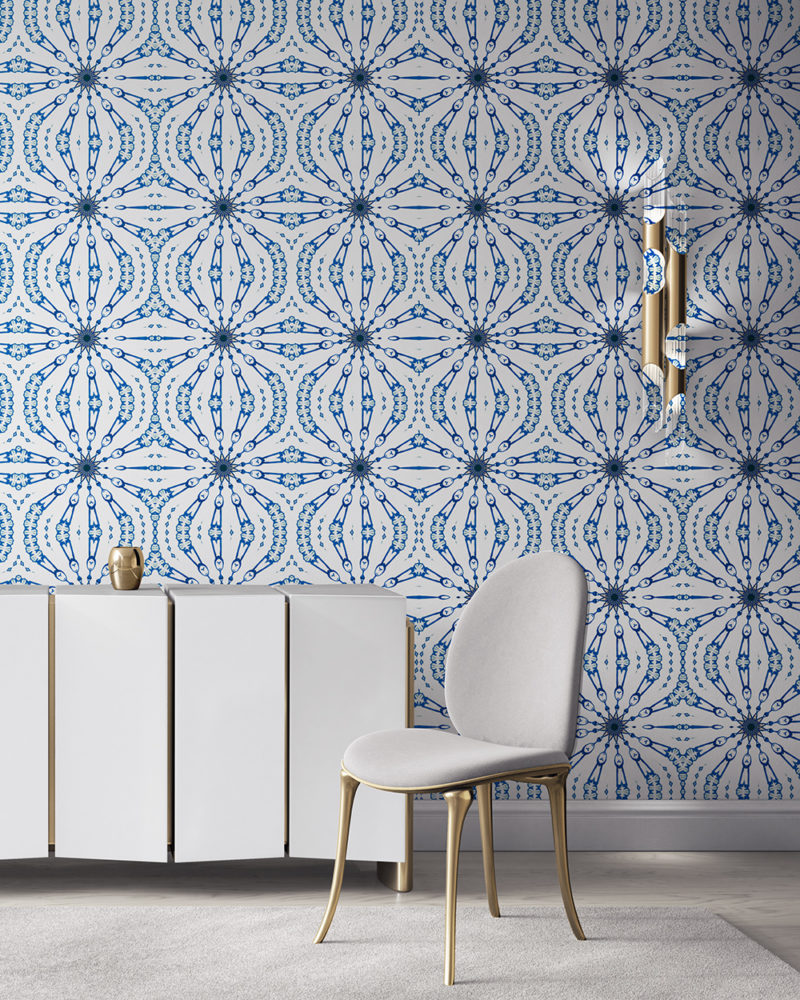 Fern in cobalt blue and white is a feminine, organic artisanal wallpaper designed in Los Angeles. Design - Fern by Pearl and Maude. Vellum wallpaper comes untrimmed. Standard wallpaper comes pre-pasted.