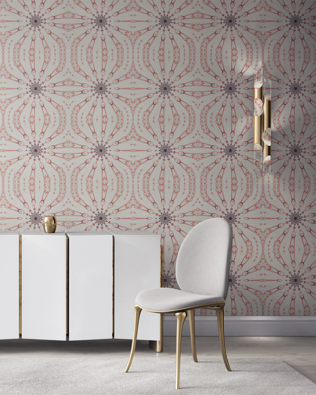 Fern in pink, grey and white is a feminine, organic artisanal wallpaper designed in Los Angeles. Design - Fern by Pearl and Maude. Grasscloth wallcovering comes untrimmed.
