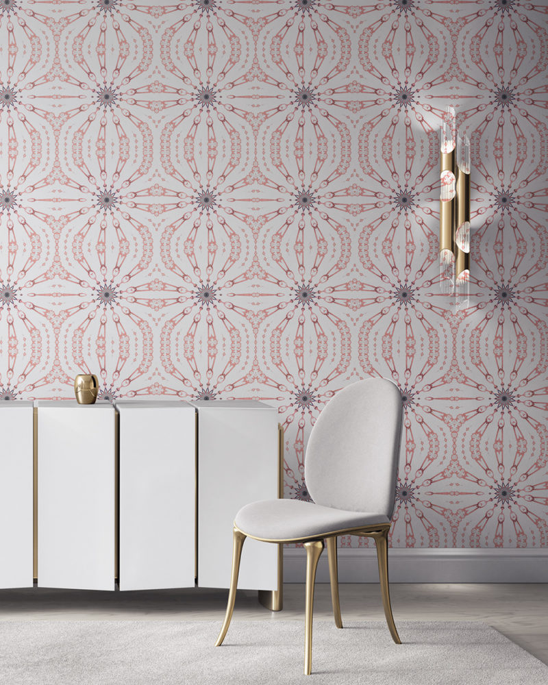 Fern in pink, grey and white is a feminine, organic artisanal wallpaper designed in Los Angeles. Design - Fern by Pearl and Maude. Vellum wallpaper comes untrimmed. Standard wallpaper comes pre-pasted.