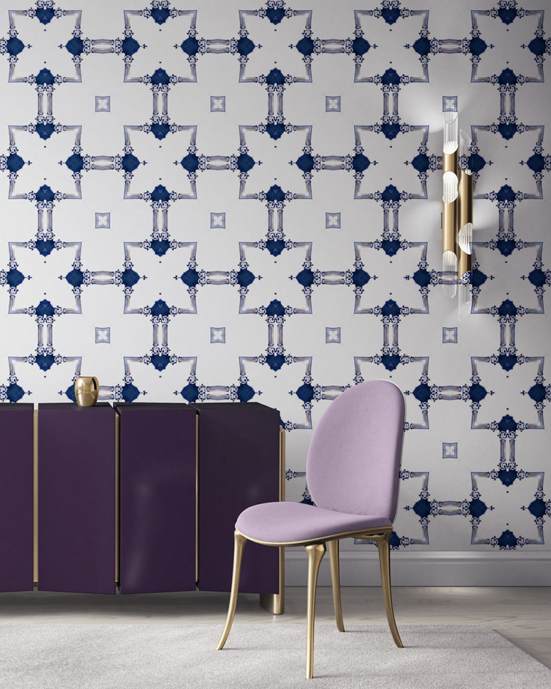 Dido is a traditional, tailored wallpaper in sapphire blue on white. This lattice patterned wallpaper is perfect for traditional interior design. Design - Dido by Pearl and Maude. Vellum wallpaper comes untrimmed. Standard wallpaper comes pre-pasted.