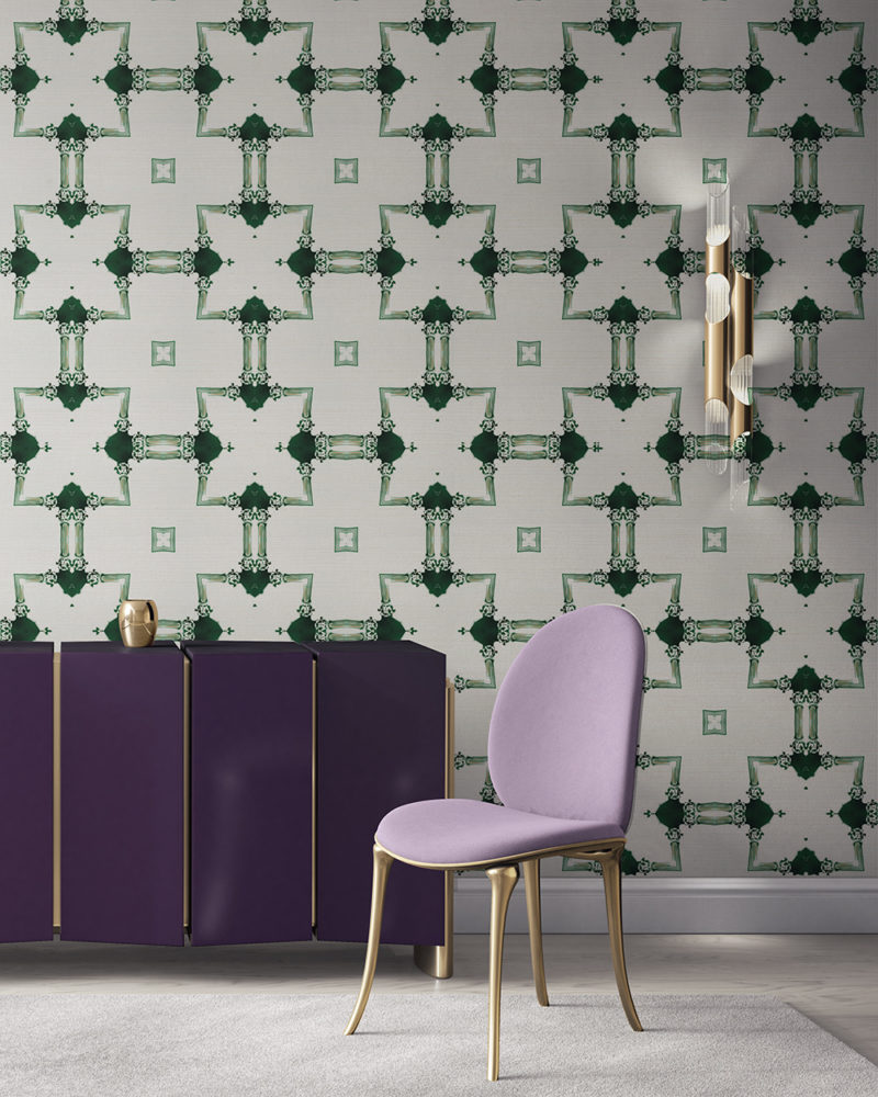 Dido is a traditional, tailored wallpaper in emerald green and gold on white. This lattice patterned wallpaper is perfect for traditional interior design. Design - Dido by Pearl and Maude. Grasscloth wallcovering comes untrimmed.