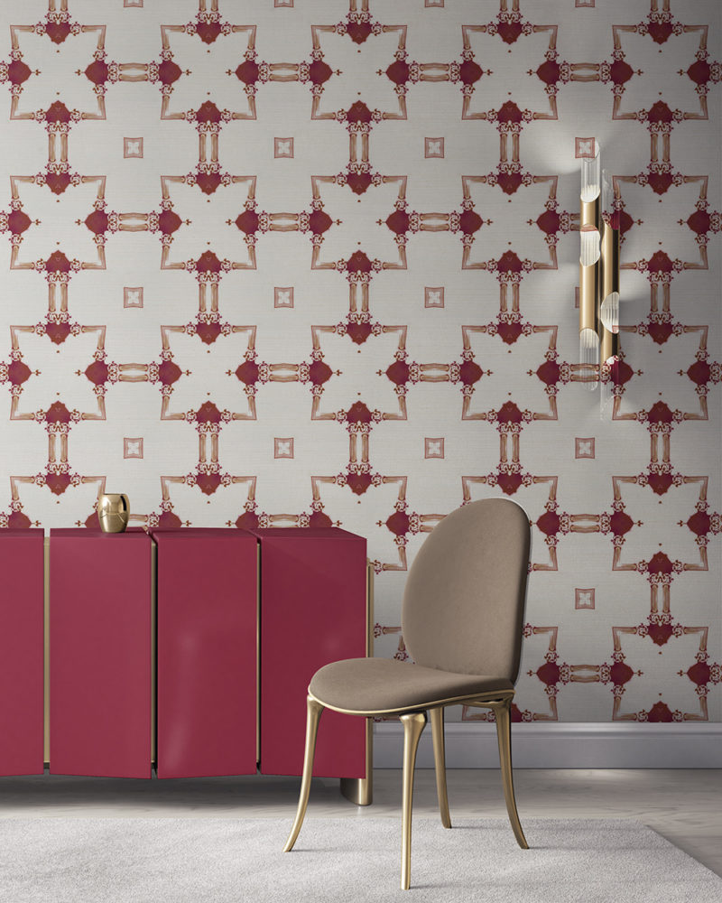 Dido is a traditional, tailored wallpaper in burgundy red and gold on white. This lattice patterned wallpaper is perfect for traditional interior design. Design - Dido by Pearl and Maude. Grasscloth wallcovering comes untrimmed.