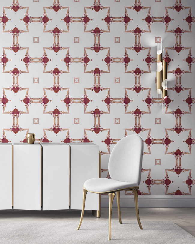 Dido is a traditional, tailored wallpaper in burgundy red and gold on white. This lattice patterned wallpaper is perfect for traditional interior design. Design - Dido by Pearl and Maude. Vellum wallpaper comes untrimmed. Standard wallpaper comes pre-pasted.