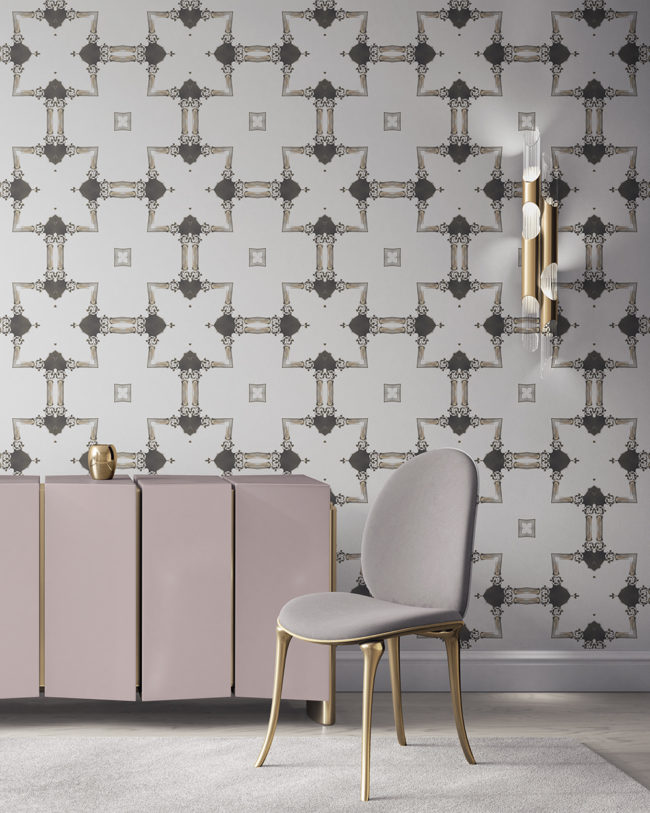 Dido is a traditional, tailored wallpaper in neutral grey taupe on white. This lattice patterned wallpaper is perfect for traditional interior design. Design - Dido by Pearl and Maude. Vellum wallpaper comes untrimmed. Standard wallpaper comes pre-pasted.
