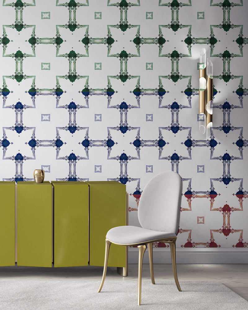 Dido is a traditional, tailored wallpaper in a blue, red and green stripe on white. This lattice patterned wallpaper is perfect for traditional interior design. Design - Dido by Pearl and Maude. Vellum wallpaper comes untrimmed. Standard wallpaper comes pre-pasted.