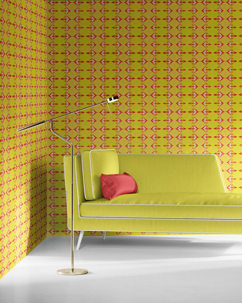 Evelyn in citron yellow and coral is a unique wallpaper stripe designed in Los Angeles. Design - Evelyn by Pearl and Maude. Vellum wallpaper comes untrimmed. Standard wallpaper comes pre-pasted.