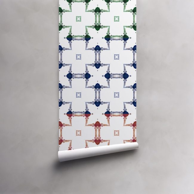 Roll of red, green, blue stripe on white wallpaper on standard pre-pasted paper. Design - Dido by Pearl and Maude