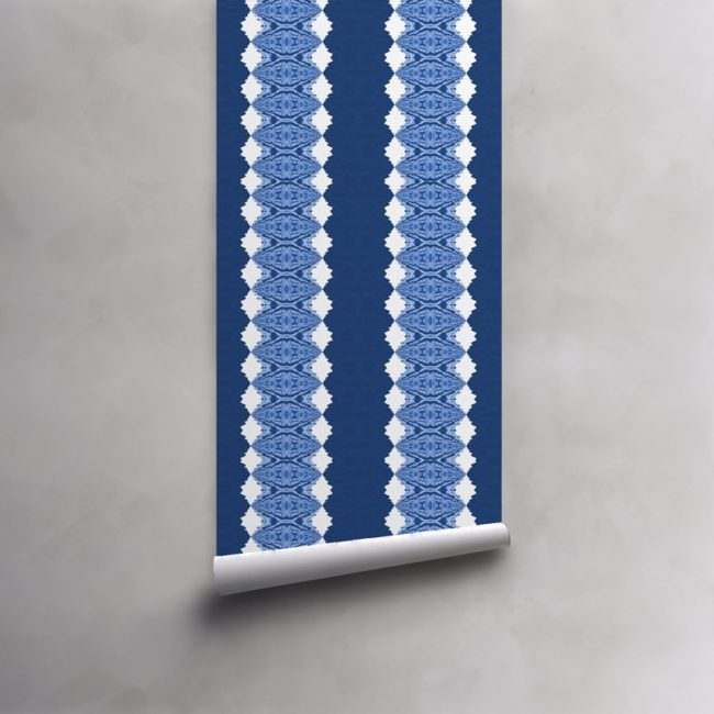 Roll of deep blues and white wallpaper on pre-pasted paper. Design - Lou by Pearl and Maude
