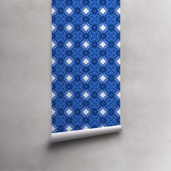 Roll of Yves Klein blue and white wallpaper on standard pre-pasted paper. Design - Alexandria by Pearl and Maude