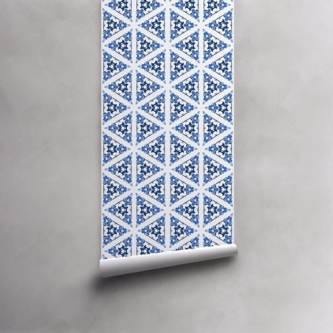Roll of blue and white wallpaper on standard pre-pasted paper. Design - Bunsen by Pearl and Maude