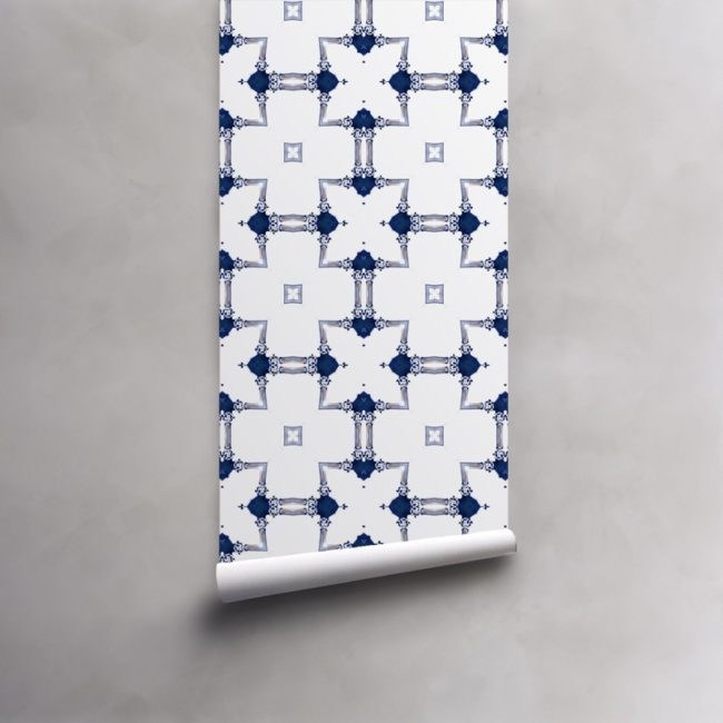 Roll of blue and white wallpaper on standard pre-pasted paper. Design - Dido by Pearl and Maude