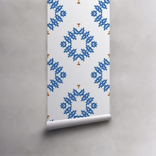 Roll of blue and white wallpaper on standard pre-pasted paper. Design - Emmett by Pearl and Maude