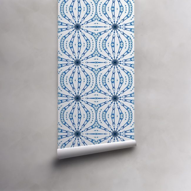 Roll of cobalt blue and white wallpaper on pre-pasted standard paper. Design - Fern by Pearl and Maude