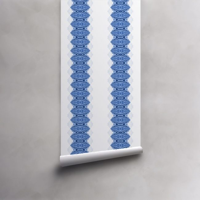 Roll of ocean blue and white wallpaper on pre-pasted paper. Design - Lou by Pearl and Maude