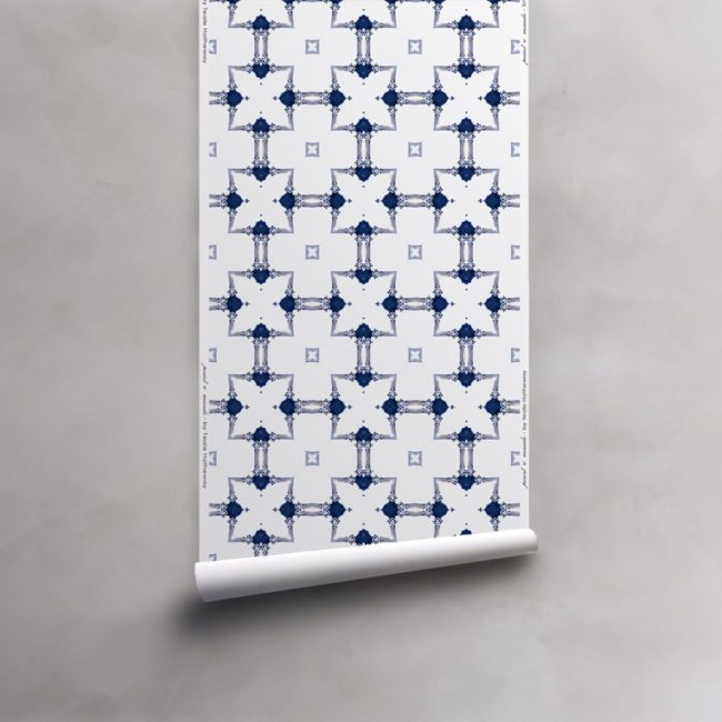 Roll of blue and white wallpaper on vellum. Design - Dido by Pearl and Maude