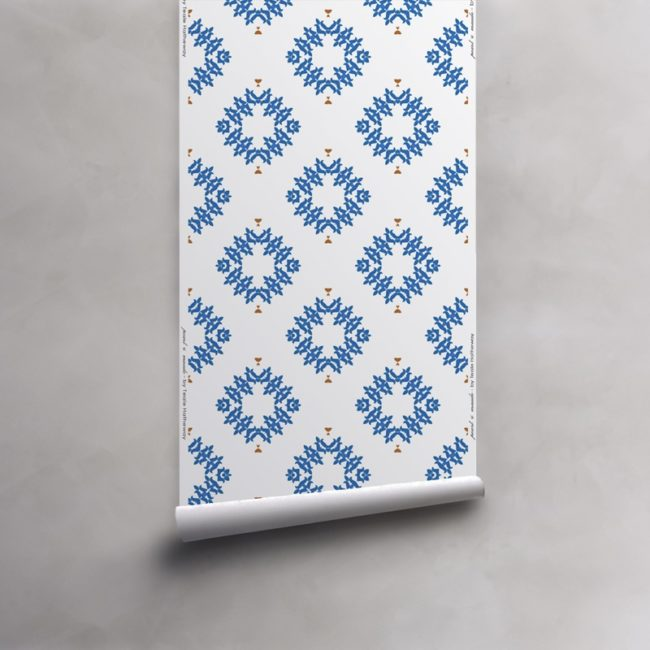 Roll of blue and white wallpaper on non-woven vellum. Design - Emmett by Pearl and Maude