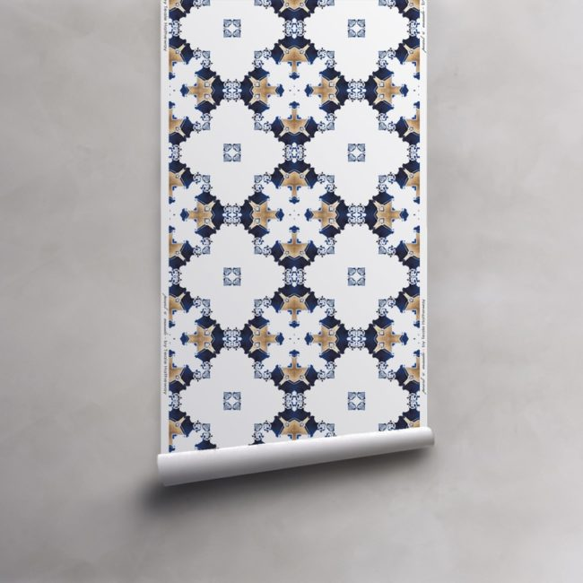 Roll of blue, gold and white wallpaper on non-woven vellum. Design - Eva by Pearl and Maude