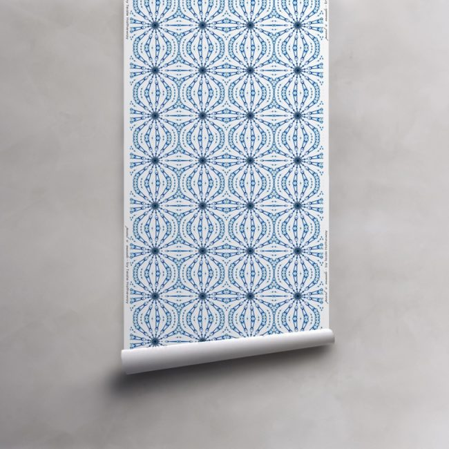 Roll of cobalt blue and white wallpaper on non-woven vellum. Design - Fern by Pearl and Maude