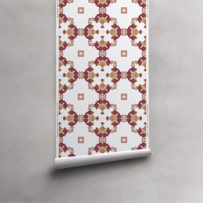 Roll of red, gold and white wallpaper on non-woven vellum. Design - Eva by Pearl and Maude