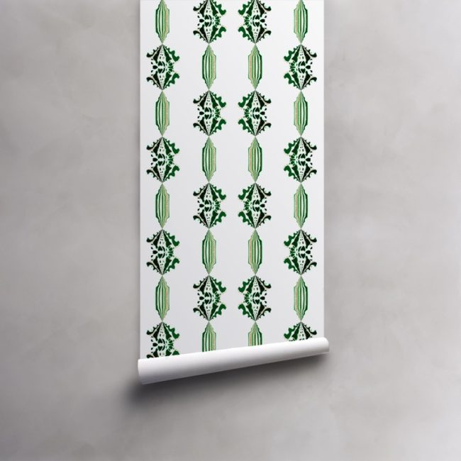 Roll of green, gold and white wallpaper on standard paper. Design - Charlie by Pearl and Maude