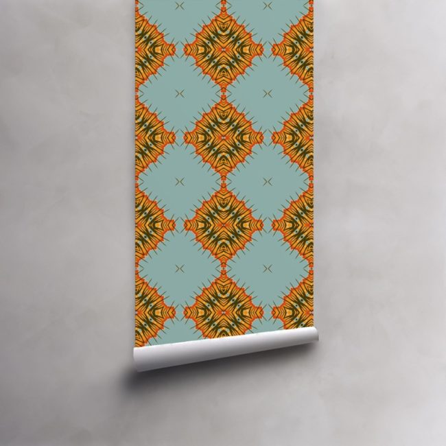 Roll of orange, blue and olive wallpaper on standard pre-pasted paper. Design - Desert Diamonds by Pearl and Maude