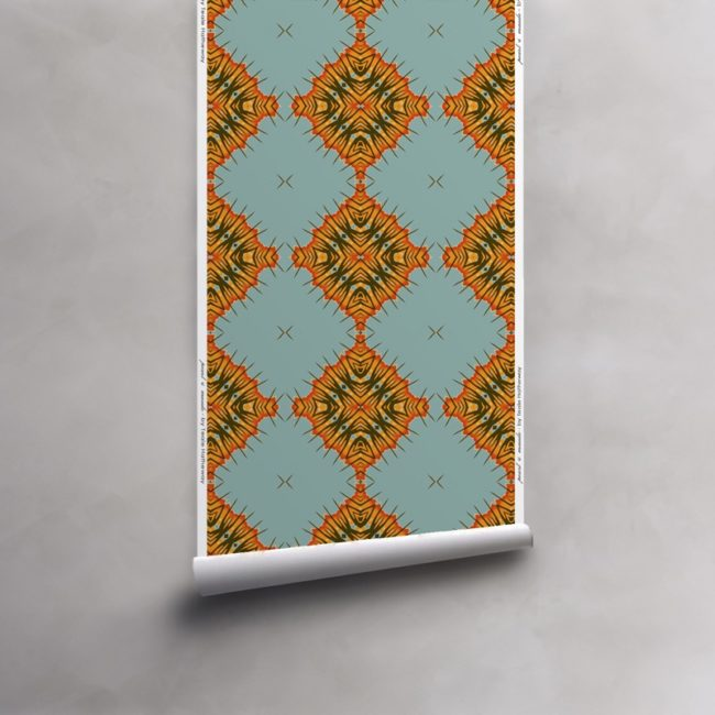 Roll of orange, blue and olive wallpaper on vellum. Design - Desert Diamonds by Pearl and Maude