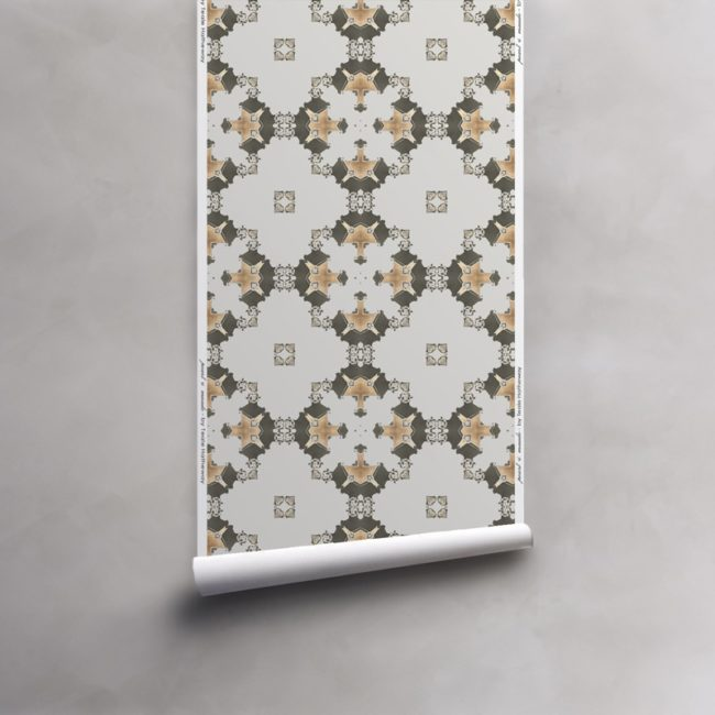 Roll of grey, gold and taupe wallpaper on non-woven vellum. Design - Eva by Pearl and Maude