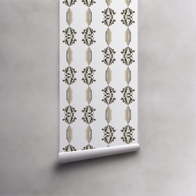Roll of grey, gold and white wallpaper on standard paper. Design - Charlie by Pearl and Maude