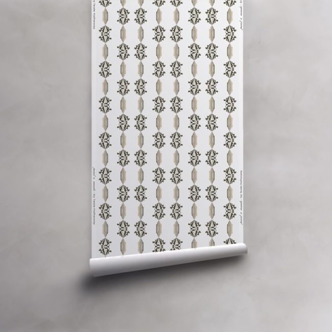 Roll of grey, gold and white wallpaper on vellum. Design - Charlie by Pearl and Maude