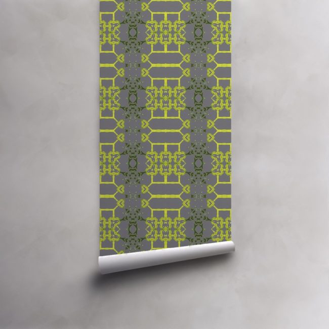 Roll of citron yellow and grey wallpaper on pre-pasted standard paper. Design - Arachne by Pearl and Maude