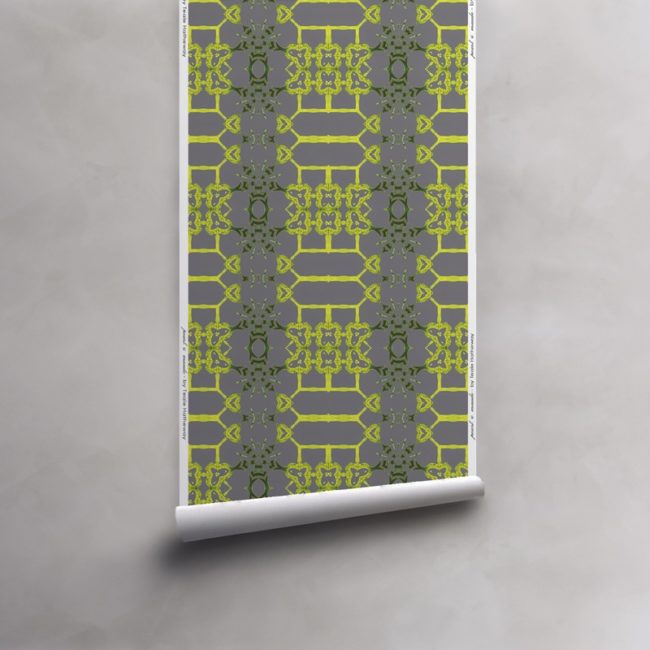 Roll of citron yellow and grey wallpaper on vellum. Design - Arachne by Pearl and Maude