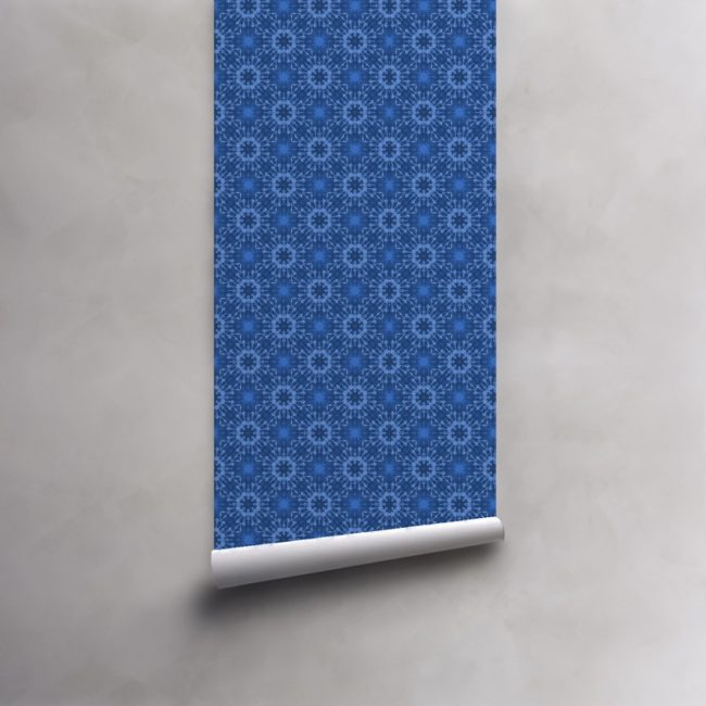 Roll of light blue and indigo blue wallpaper on pre-pasted standard paper. Design - Elton by Pearl and Maude