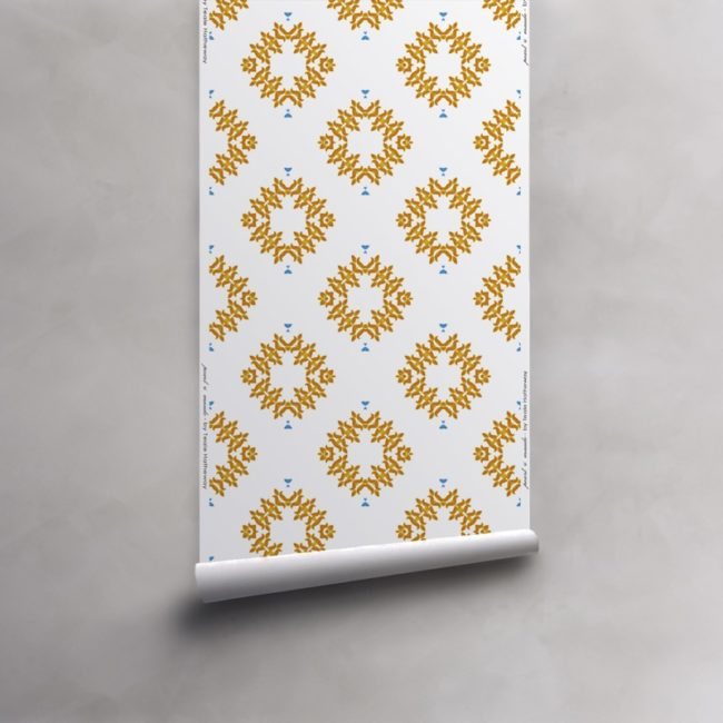 Roll of orange and white wallpaper on non-woven vellum. Design - Emmett by Pearl and Maude