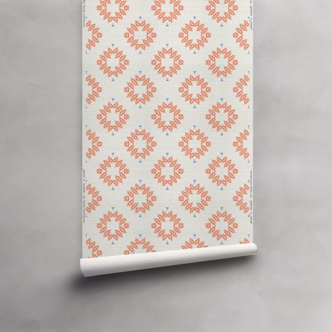 Roll of peach and white grasscloth wallcovering. Design - Emmett by Pearl and Maude