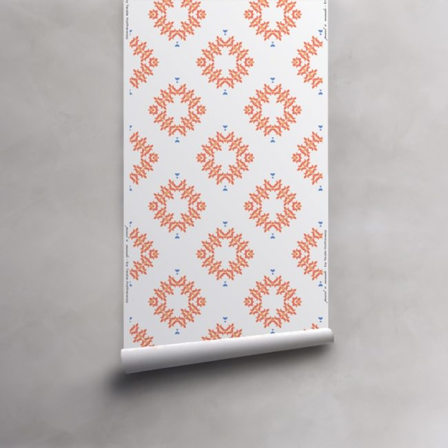 Roll of peach and white wallpaper on non-woven vellum. Design - Emmett by Pearl and Maude